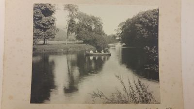 Late 19hundreds: people enjoying a boat trip at River Lochay infront of Dall Lodge Country House
